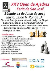 XXV Open de Ajedrez de Feria de San José @ Hacienda de Santa Cruz
